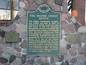 Allegan, Michigan - 2nd Street Bridge historical plaque