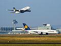 2x Lufthansa Airbus 380 (16270074490).jpg