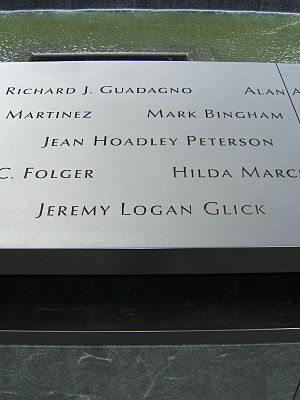 Jeremy Glick - Glick's name is located on Panel S-67 of the National September 11 Memorial's South Pool, along with those of other passengers of Flight 93.