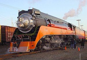 Southern Pacific class GS-4 - SP 4449, the youngest (and sole-remaining) GS-4 locomotive, standing idle under steam, waiting to start Christmas excursion, December 13, 2005.