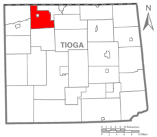 Map of Tioga County Highlighting Deerfield Township