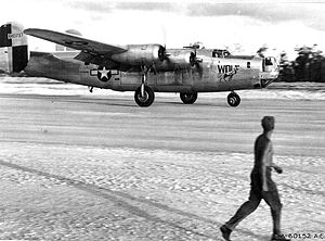 867th Reconnaissance Squadron - Consolidated B-24J Liberator 44-40737 landing on Angaur Airstrip, Palau Islands