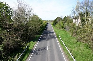Steyning Line - Steyning Bypass near Bramber. The station's old retaining wall can be seen on the right.