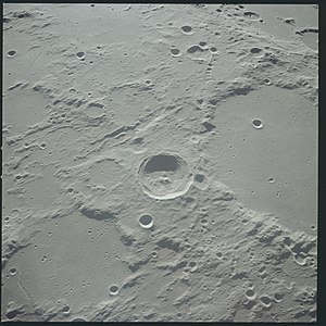 Flammarion (lunar crater) - Oblique view from Apollo 12, with Herschel at center and Flammarion in lower left