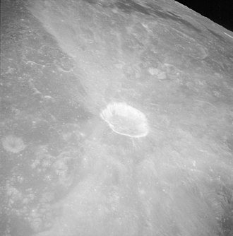 Ray system - Asymmetrical ray system about the lunar crater Proclus (Apollo 15 image)