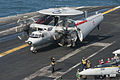 A French Navy E-2C Hawkeye aircraft assigned to the French aircraft carrier Charles de Gaulle (R 91) taxis on the aircraft carrier USS Harry S. Truman (CVN 75) during carrier qualification integration in 140114-N-ZG705-232.jpg