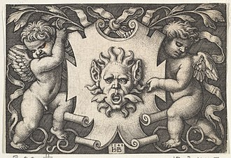 Sebald Beham - Image: A Mask on an Escutcheon Supported by Two Genii MET DP828921