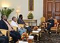 A Parliamentary delegation from Papua New Guinea led by Mr. Theo Zibang Zurenuoc calling on the President, Shri Pranab Mukherjee, at Rashtrapati Bhavan, in New Delhi on August 27, 2013.jpg