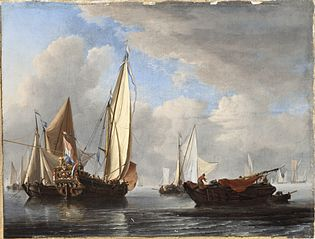 A Yacht and Other Vessels in a Calm