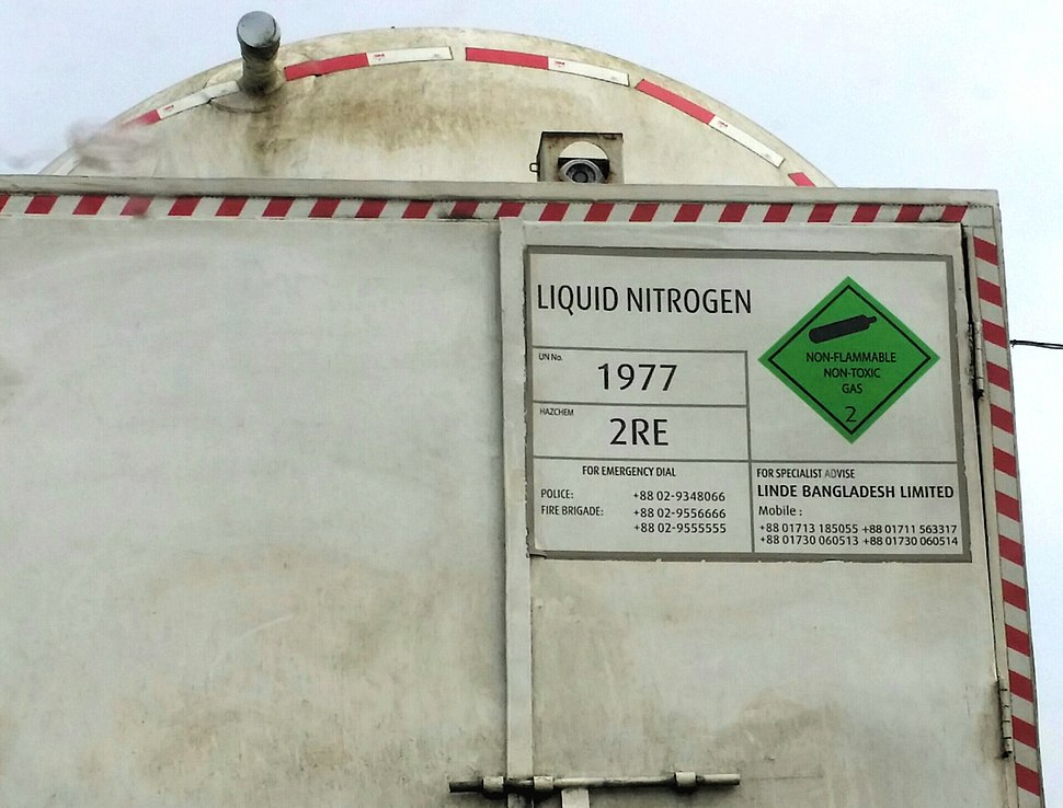 A cylinder container, containing liquid nitrogen