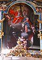 A főoltár képe. A stigmatizált Assisi Szent Ferenc átveszi a teljes búcsú céduláját a mennyei seregektől körülvett Megváltótól és a Szűzanyától..JPG