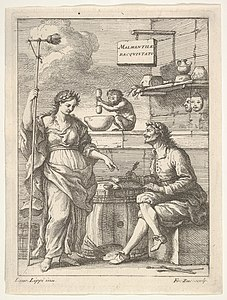 A monkey working a mortar and pestle, below Lorenzo Lippi (?) writing his humorous poem 'Malmantile Racquistato', a muse standing at left MET DP832514.jpg
