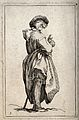A woman dressed in rags, possibly a beggar, standing barefoo Wellcome V0020328.jpg