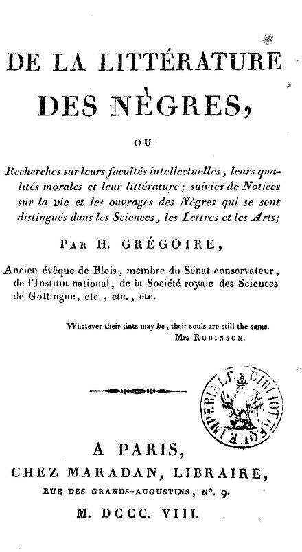 Title page of Gregoire's 1808 book on Negro literature Abbe gregoire 1808.JPG