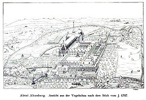 Altenberg Abbey - Altenberg Abbey about 1707, drawing based on a copper engraving by Johann Jakob Sartor