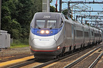 Rail transport - An Acela Express high-speed train passing Old Saybrook station on its way to Boston, Massachusetts.