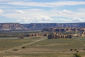 Acoma Pueblo - A view of the Acoma Pueblo mesa from the northwest