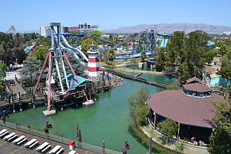 California's Great America - Water slides viewed from the cable car