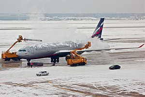 De-ice - An Aeroflot Airbus A330 being de-iced at Sheremetyevo International Airport.