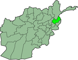 Map showing present-day Nuristan Province of Afghanistan