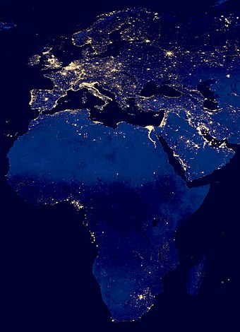 Satellite image of city lights in Africa showing the relatively low modern development on the continent in 2012 as compared to Eurasia. Africa and Eurasia at night 2012.jpg