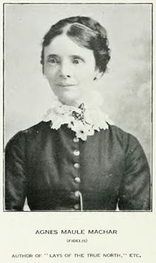 Photo of Agnes Maule Machar (a.k.a. Fidelis) taken from Canadian Singers and Their Songs, compiled by Edward S. Caswell (Toronto: McCleland & Stewart, 1919).
