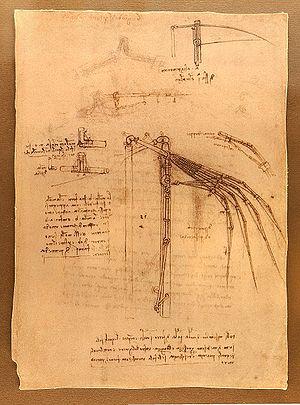English: Design for a flying machine Codex Atl...