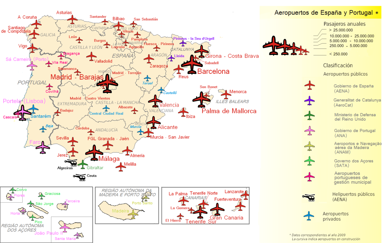 Map Of Spain With Airports.File Airports Of Spain And Portugal Png Wikimedia Commons