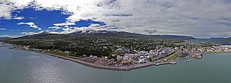Akureyri - Aerial panorama of Akureyri, taken in June 2017