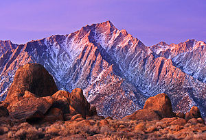 Alabama Hills - Rocks of the Alabama Hills with the Sierra Nevada in the background, winter dawn