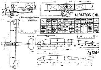 Albatros C.XII - Albatros C.XII Baubeschreibung drawing, as issued to IdFlieg