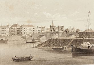 Tartu - The Stone Bridge and the Old Town in 1860