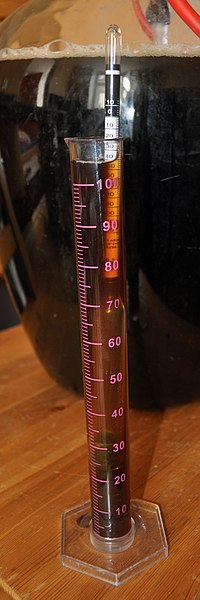 A alcoholometer testing beer immediately after brewing, before fermentation. - Hydrometer