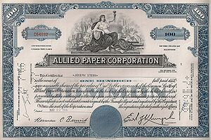 English: Example of an Allied Paper Corporatio...