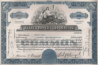 Allied Paper Corporation - Allied Paper Corporation Stock Certificate issued in 1966