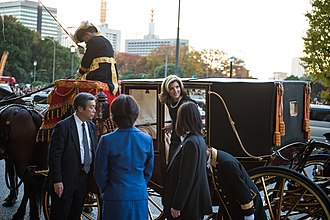 Diplomatic correspondence - Caroline Kennedy, the United States ambassador to Japan, departs Tokyo Imperial Palace after presenting her credentials to Akihito in 2013.