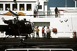 An Alouette III helicopter of the Argentine navy onboard USNS Comfort (T-AH-20) during Operation Desert Storm
