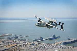 VAW-125 - VAW-125 E-2D Hawkeye flies over NAS Norfolk