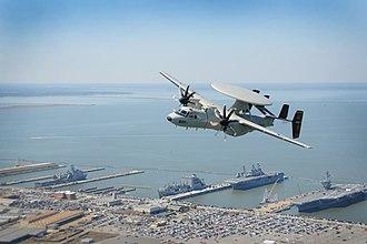 VAW-125 - VAW-125 E-2D Hawkeye flies over NAS Norfolk
