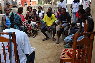 HIV/AIDS in Africa - An HIV/AIDS educational outreach session in Angola.