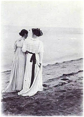 Summer Evening on Skagen's Southern Beach - One of Krøyer's photographs of Anna and Marie on the beach
