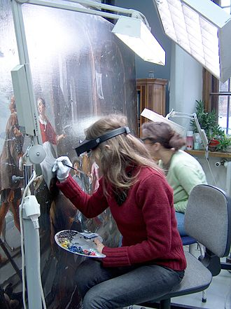 Paintings conservator - Paintings conservators treating a painting at the National Museum, Warsaw.