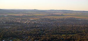 Ararat, Victoria - Ararat from One Tree Hill lookout looking south west toward the Challicum Hills Wind Farm