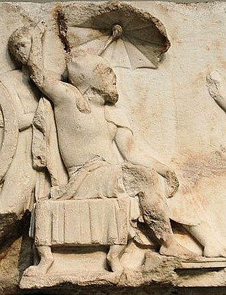 Nereid Monument - Arbinas, owner of the tomb and Lycian dynast of the Achaemenid Empire, in Achaemenid dress on the Nereid Monument.