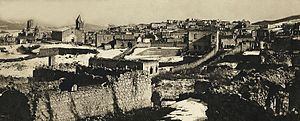 Shusha massacre - Armenian quarters of the city of Shusha in Nagorno-Karabakh after the massacre, with the defiled Armenian cathedral of the Holy Savior on the background