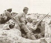 Armenian troops in a trench (Battle of Baku)