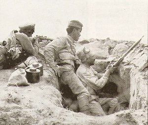 Battle of Baku - Armenian troops in a trench.