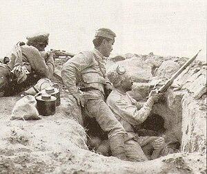 Battle of Baku - Armenian troops in a trench.