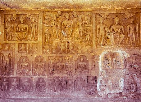 Art works on the wall of Kanheri caves.jpg