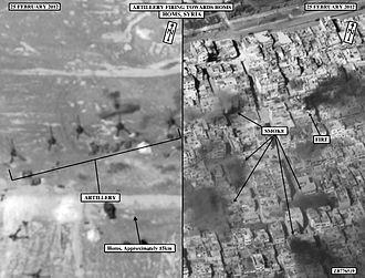 Siege of Homs - Image: Artillery Firing Towards Homs Syria Feb 2012